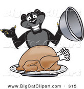 Big Cat Cartoon Vector Clipart of a Hungry Black Jaguar Mascot Character Serving a Turkey by Toons4Biz