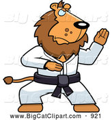 Big Cat Cartoon Vector Clipart of a Karate Lion with a Black Belt by Cory Thoman