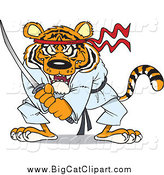 Big Cat Cartoon Vector Clipart of a Karate Samurai Tiger with a Sword by Toonaday