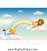 Big Cat Cartoon Vector Clipart of a King Lion and Girl Talking on Rainbow Clouds in the Sky by Graphics RF