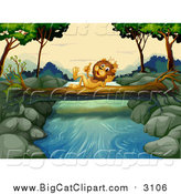 Big Cat Cartoon Vector Clipart of a King Lion Holding up a Finger on a Log over a Creek by Graphics RF