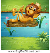 Big Cat Cartoon Vector Clipart of a King Lion Reclined on a Floating Log by Graphics RF