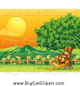 Big Cat Cartoon Vector Clipart of a King Lion Resting Against a Tree with a Mountain View at Sunset by Graphics RF