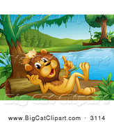 Big Cat Cartoon Vector Clipart of a King Lion Resting and Talking on a River Beach by Graphics RF