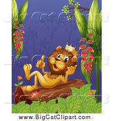 Big Cat Cartoon Vector Clipart of a King Lion Resting and Thinking on a Jungle Log by Graphics RF