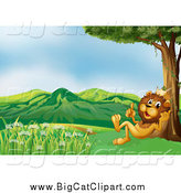 Big Cat Cartoon Vector Clipart of a King Lion Talking Under a Tree by Graphics RF