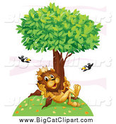 Big Cat Cartoon Vector Clipart of a King Lion Thinking on a Hill Under a Tree with Flying Toucans by Graphics RF