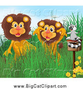 Big Cat Cartoon Vector Clipart of a Lemur on a Mailbox by Two Happy Lions by Graphics RF