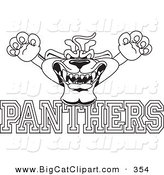 Big Cat Cartoon Vector Clipart of a Line Art Outline of a Panther Character Mascot with PANTHERS Text by Toons4Biz