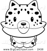 Big Cat Cartoon Vector Clipart of a Lineart Baby Bobcat Smiling by Cory Thoman