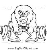 Big Cat Cartoon Vector Clipart of a Lineart Bodybuilder Lion Weightlifting by Toonaday