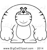 Big Cat Cartoon Vector Clipart of a Lineart Buff Tiger by Cory Thoman