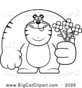 Big Cat Cartoon Vector Clipart of a Lineart Buff Tiger Holding Flowers by Cory Thoman