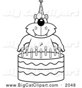 Big Cat Cartoon Vector Clipart of a Lineart Cat Making a Wish over Candles on a Birthday Cake by Cory Thoman