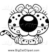 Big Cat Cartoon Vector Clipart of a Lineart Cute Angry Leopard Cub by Cory Thoman