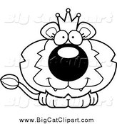 Big Cat Cartoon Vector Clipart of a Lineart Cute Happy King Lion Cub by Cory Thoman