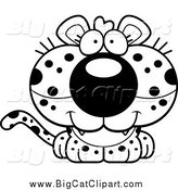 August 2nd, 2015: Big Cat Cartoon Vector Clipart of a Lineart Cute Happy Leopard Cub by Cory Thoman