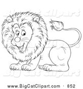 Big Cat Cartoon Vector Clipart of a Lineart Cute Lion by Alex Bannykh