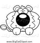 Big Cat Cartoon Vector Clipart of a Lineart Cute Lion over a Surface by Cory Thoman