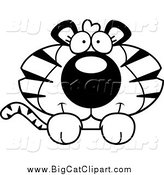 Big Cat Cartoon Vector Clipart of a Lineart Cute Tiger over a Surface by Cory Thoman