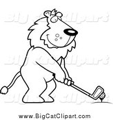 Big Cat Cartoon Vector Clipart of a Lineart Golfing Lion Holding the Club Against the Ball on the Tee by Cory Thoman