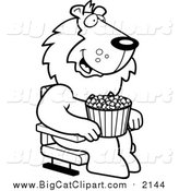 Big Cat Cartoon Vector Clipart of a Lineart Happy Lion with Popcorn at the Movie Theater by Cory Thoman