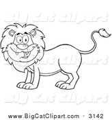 Big Cat Cartoon Vector Clipart of a Lineart Happy Male Lion Smiling by Hit Toon