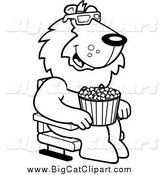 Big Cat Cartoon Vector Clipart of a Lineart Lion Eating Popcorn and Watching a 3d Movie at the Theater by Cory Thoman