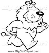 Big Cat Cartoon Vector Clipart of a Lineart Lion Running Upright on His Hind Legs by Cory Thoman
