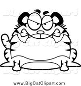Big Cat Cartoon Vector Clipart of a Lineart Mad Chubby Tiger by Cory Thoman