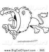 Big Cat Cartoon Vector Clipart of a Lineart Roaring and Attacking Lion by Toonaday
