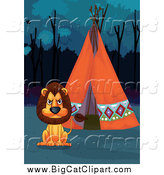 Big Cat Cartoon Vector Clipart of a Lion and a Tipi at Night by Graphics RF