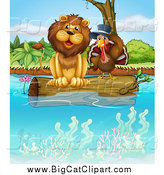 Big Cat Cartoon Vector Clipart of a Lion and a Turkey Bird Resting on a Floating Log by Graphics RF