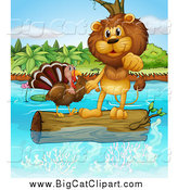 Big Cat Cartoon Vector Clipart of a Lion and a Turkey on a Floating Log by Graphics RF