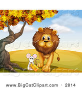 Big Cat Cartoon Vector Clipart of a Lion and Mouse with Cheese Under an Autumn Tree by Graphics RF
