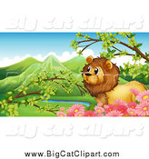 Big Cat Cartoon Vector Clipart of a Lion and Pink Flowers Against a Valley by Graphics RF