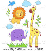 Big Cat Cartoon Vector Clipart of a Lion Bird Elephant Giraffe Clouds and Foliage by BNP Design Studio