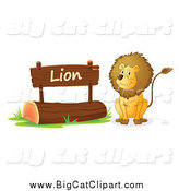 Big Cat Cartoon Vector Clipart of a Lion by a Wooden Sign by Graphics RF