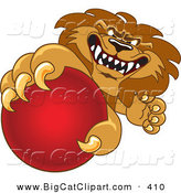 Big Cat Cartoon Vector Clipart of a Lion Character Mascot Grabbing a Red Ball on White by Toons4Biz