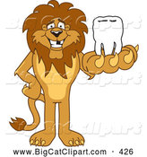 Big Cat Cartoon Vector Clipart of a Lion Character Mascot Holding a Tooth in His Paw by Toons4Biz