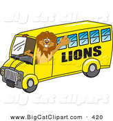 Big Cat Cartoon Vector Clipart of a Lion Character Mascot School Bus Driver Waving Hello by Toons4Biz