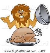 Big Cat Cartoon Vector Clipart of a Lion Character Mascot Serving a Turkey, on White by Toons4Biz