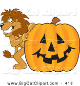 Big Cat Cartoon Vector Clipart of a Lion Character Mascot with a Jack O Lantern Pumpkin by Toons4Biz