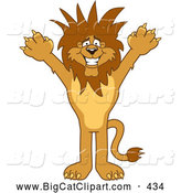 Big Cat Cartoon Vector Clipart of a Lion Character Mascot with Funky Hair Standing up by Toons4Biz