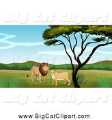 Big Cat Cartoon Vector Clipart of a Lion Couple by a Tree by Graphics RF