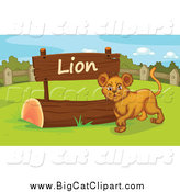 Big Cat Cartoon Vector Clipart of a Lion Cub by a Sign by Graphics RF