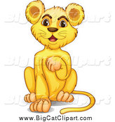 Big Cat Cartoon Vector Clipart of a Lion Cub Grooming by Graphics RF