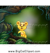 Big Cat Cartoon Vector Clipart of a Lion Cub in a Forest by Graphics RF