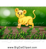 Big Cat Cartoon Vector Clipart of a Lion Cub on a Log by Graphics RF