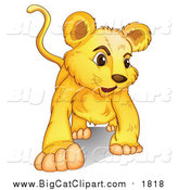 Big Cat Cartoon Vector Clipart of a Lion Cub Walking by Graphics RF